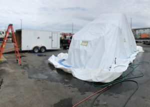 truck cab bed bud fumigation in progress