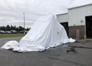 truck cab bed bud fumigation in progress